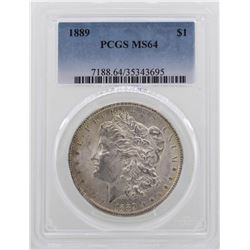 1889 $1 Morgan Silver Dollar Coin PCGS MS64