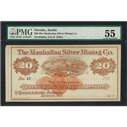 1870's $20 The Manhattan Silver Mining Co. Obsolete Note PMG About Uncirculated