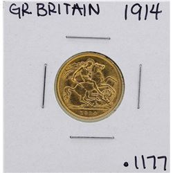 1914 Great Britain George V 1/2 Sovereign Gold Coin