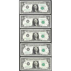 District Set of 1963B $1 Federal Reserve BARR Uncirculated Notes