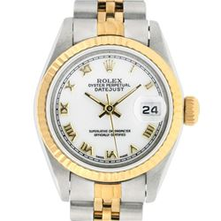 Rolex Ladies Two Tone 14K White Roman 26MM Datejust Wristwatch