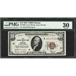 1929 $10 Federal Reserve Bank Note Boston Fr.1860-A PMG Very Fine 30