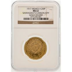 1917 Mexico 20 Pesos Carson City Hoard Gold Coin NGC MS61