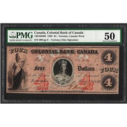 1859 $4 Colonial Bank of Canada Note PMG About Uncirculated 50