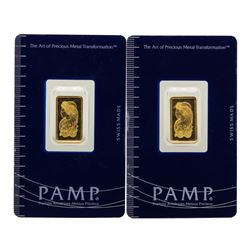 Lot of (2) Suisse 2.5 Gram Fine Gold Pamp Gold Bars