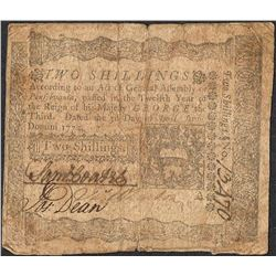 April 3, 1772 Pennsylvania Two Shillings Colonial Currency Note