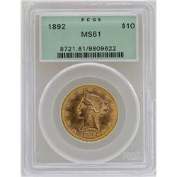 1892 $10 Liberty Head Eagle Gold Coin PCGS MS61