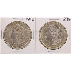 Lot of (2) 1896 $1 Morgan Silver Dollar Coins
