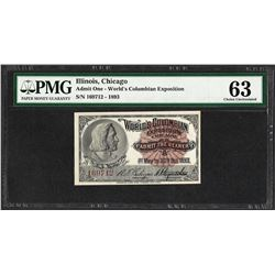 1893 World's Columbian Exposition Ticket PMG Choice Uncirculated 63