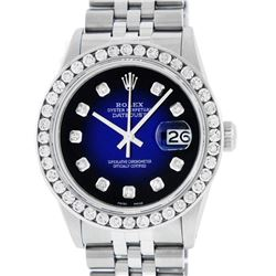 Rolex Men's Stainless Steel Blue Vignette 3 ctw Diamond Datejust Wristwatch