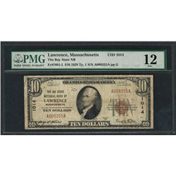 1929 $10 National Currency Note Lawrence, Massachusetts CH# 1014 PMG Fine 12