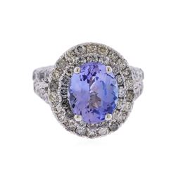 14KT White Gold 3.43 ctw Tanzanite and Diamond Ring