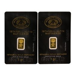 Lot of (2) Istanbul Altin Rafinerisi 1 gram Gold Bars