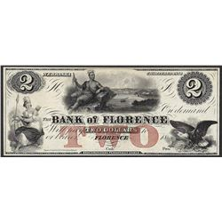 1800's $2 Bank of Florence Nebraska Obsolete Note