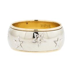 14KT Yellow and White Gold Lady's Carved Band