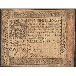 October 1, 1773 Pennsylvania Two Shillings Colonial Currency Note