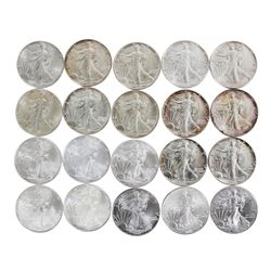 Lot of (20) Brilliant Uncirculated Mixed Date $1 American Silver Eagle Coins