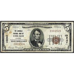 1929 $5 Lawndale National Bank of Chicago CH# 10247 National Currency Note