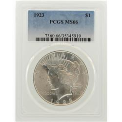 1923 $1 Peace Silver Dollar Coin PCGS MS66