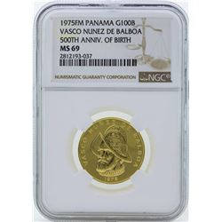 1975FM Panama 100 Balboas Proof Gold Coin NGC PF69 Ultra Cameo