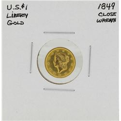1849 Closed Wreath $1 Liberty Head Gold Dollar Coin