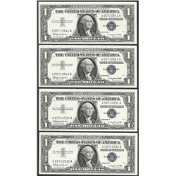 Lot of (4) 1957B $1 Silver Certificate Notes