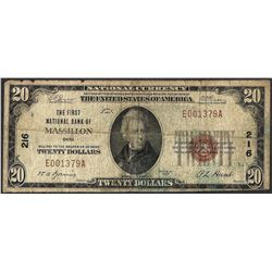 1929 $20 Massillon OH National Currency Note CH# 216