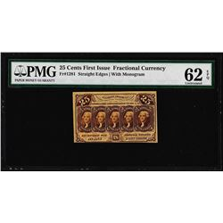 1862 Twenty-Five Cents First Issue Fractional Note Fr.1281 PMG Uncirculated 62EP