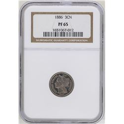 1886 Proof 3 Cent Nickel Coin NGC PF65