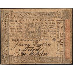 October 1, 1773 Pennsylvania Eighteen Pence Colonial Currency Note