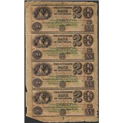 Uncut Sheet of 1800's $20 Citizens Bank of Louisiana Obsolete Notes