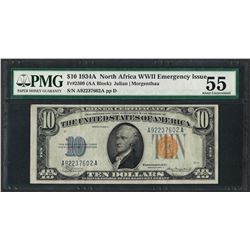 1934A $10 North Africa Silver Certificate WWII Emergency Note PMG About Unc. 55