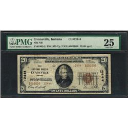 1929 $20 National Currency Note Evansville, Indiana CH# 12444 PMG Very Fine 25