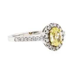 14KT White and Yellow Gold 0.97 ctw Yellow and White Diamond Ring