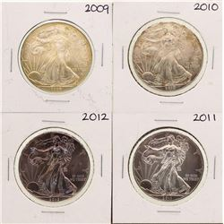 Lot of 2009-2012 $1 American Silver Eagle Coins