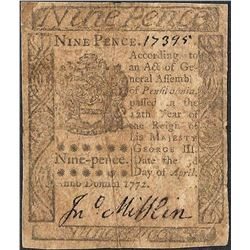 April 3, 1772 Pennsylvania Nine Pence Colonial Currency Note