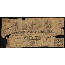 1847 $3 The Exchange Bank of Virginia Obsolete Note