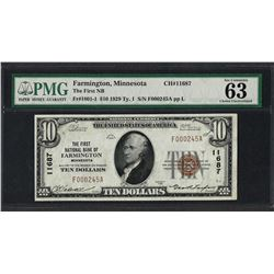 1929 $10 National Currency Note Farmington, MN CH# 11687 PMG Choice Uncirculated