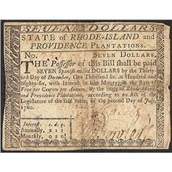 July 2, 1780 $7 Rhode Island Colonial Currency Note