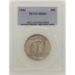 1944 Walking Liberty Half Dollar Coin NGC MS64