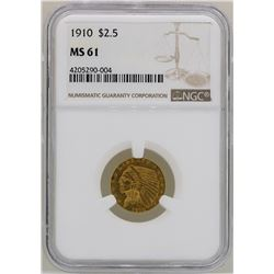 1910 $2 1/2 Indian Head Quarter Eagle Gold Coin NGC MS61