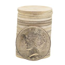 Roll of (20) Brilliant Uncirculated 1923 $1 Peace Silver Dollar Coins