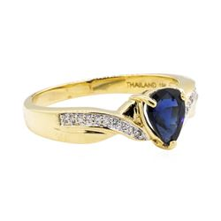 18KT Yellow Gold 0.80 ctw Sapphire and Diamond Ring