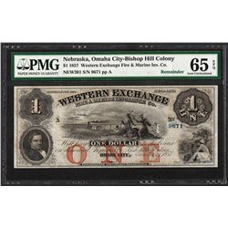 1857 $1 Western Exchange Fire & Marine Insurance Co. Note PMG Gem Uncirculated 6