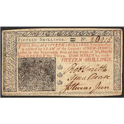 March 25, 1776 New Jersey Fifteen Shillings Colonial Currency Note
