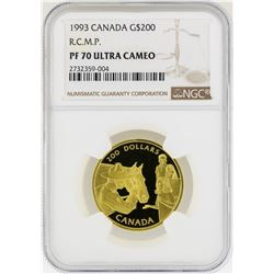 1993 Canada $200 R.C.M.P. Gold Coin  NGC PF70 Ultra Cameo