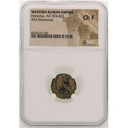 Honorius 393-423 AD Ancient Western Roman Empire Coin NGC Ch F