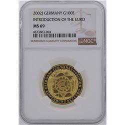 2002J Germany 100 Euro Introduction of the Euro Gold Coin NGC MS69