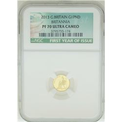 2013 Great Britain 1 Pound Gold Coin NGC PF70 Ultra Cameo
