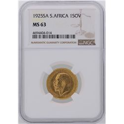 1925SA South Africa Sovereign Gold Coin NGC MS63